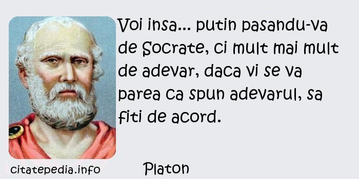Platon - Voi insa... putin pasandu-va de Socrate, ci mult mai mult de adevar, daca vi se va parea ca spun adevarul, sa fiti de acord.