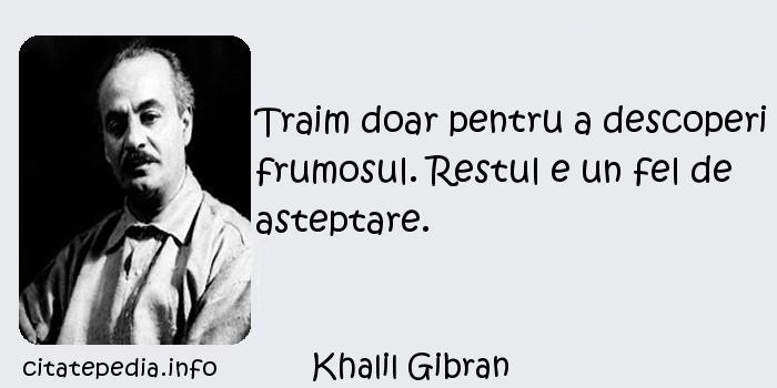 Khalil Gibran - Traim doar pentru a descoperi frumosul. Restul e un fel de asteptare.