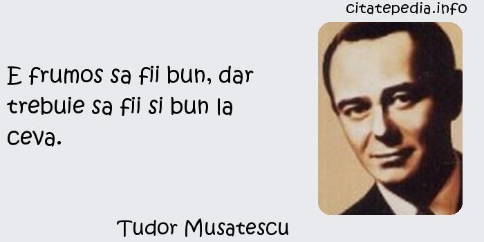 Tudor Musatescu - E frumos sa fii bun, dar trebuie sa fii si bun la ceva.