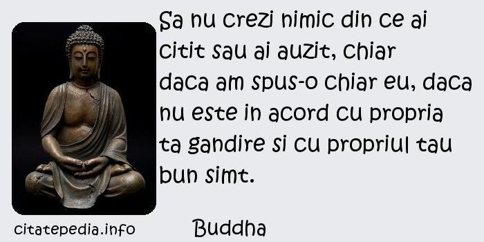 Buddha - Sa nu crezi nimic din ce ai citit sau ai auzit, chiar daca am spus-o chiar eu, daca nu este in acord cu propria ta gandire si cu propriul tau bun simt.