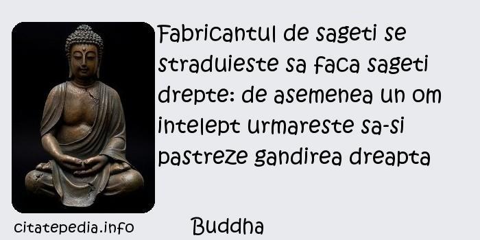 Buddha - Fabricantul de sageti se straduieste sa faca sageti drepte: de asemenea un om intelept urmareste sa-si pastreze gandirea dreapta
