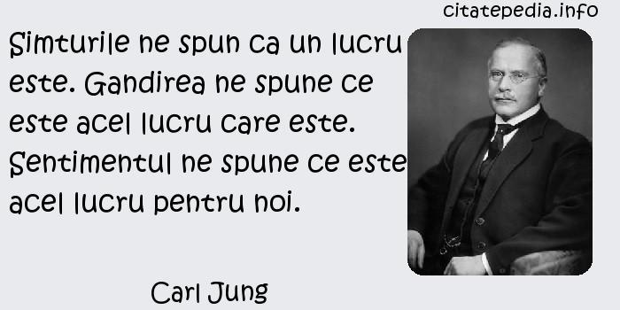 Carl Jung - Simturile ne spun ca un lucru este. Gandirea ne spune ce este acel lucru care este. Sentimentul ne spune ce este acel lucru pentru noi.