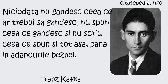 Franz Kafka - Niciodata nu gandesc ceea ce ar trebui sa gandesc, nu spun ceea ce gandesc si nu scriu ceea ce spun si tot asa, pana in adancurile beznei.