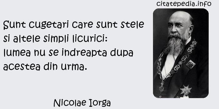 Nicolae Iorga - Sunt cugetari care sunt stele si altele simpli licurici: lumea nu se indreapta dupa acestea din urma.