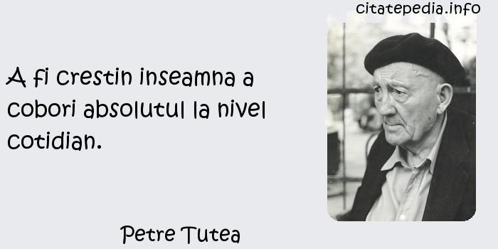 Petre Tutea - A fi crestin inseamna a cobori absolutul la nivel cotidian.