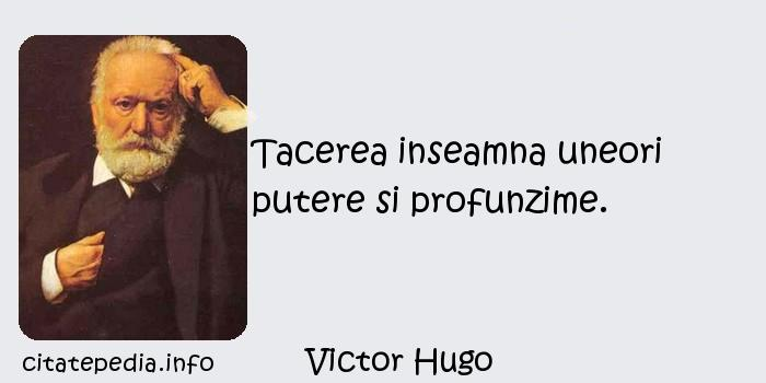 Victor Hugo - Tacerea inseamna uneori putere si profunzime.