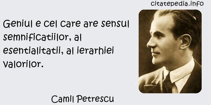 Camil Petrescu - Geniul e cel care are sensul semnificatiilor, al esentialitatii, al ierarhiei valorilor.