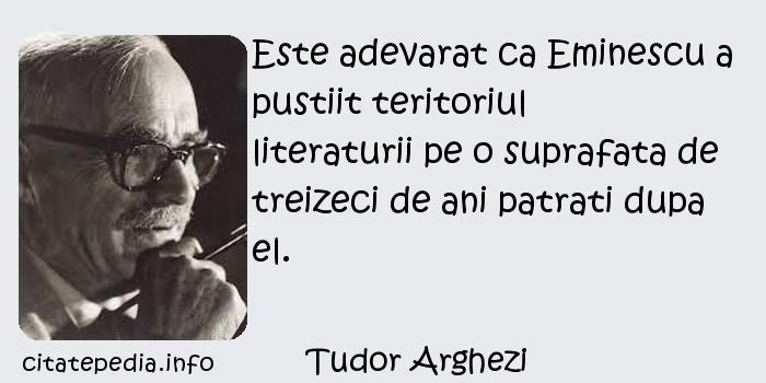 Tudor Arghezi - Este adevarat ca Eminescu a pustiit teritoriul literaturii pe o suprafata de treizeci de ani patrati dupa el.