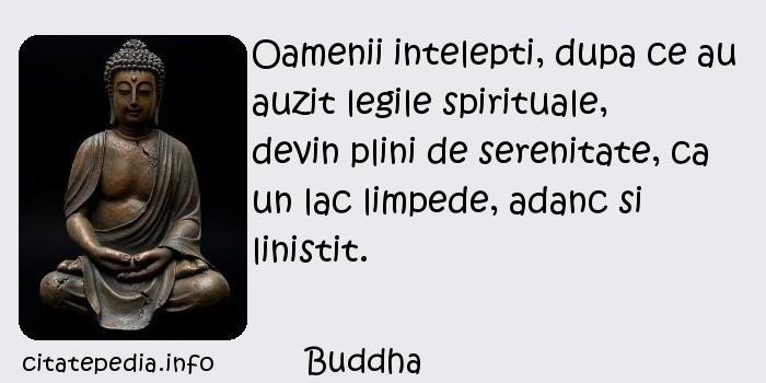 Buddha - Oamenii intelepti, dupa ce au auzit legile spirituale, devin plini de serenitate, ca un lac limpede, adanc si linistit.