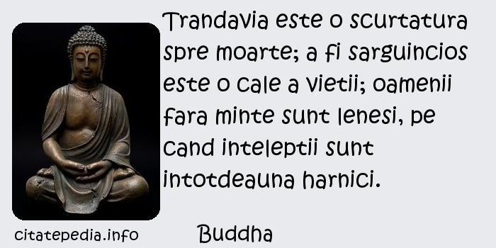 Buddha - Trandavia este o scurtatura spre moarte; a fi sarguincios este o cale a vietii; oamenii fara minte sunt lenesi, pe cand inteleptii sunt intotdeauna harnici.