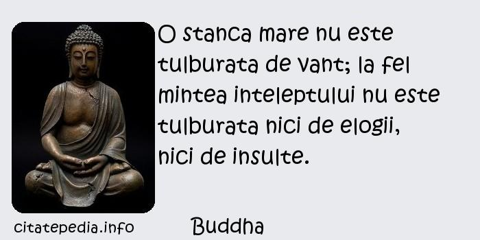 Buddha - O stanca mare nu este tulburata de vant; la fel mintea inteleptului nu este tulburata nici de elogii, nici de insulte.