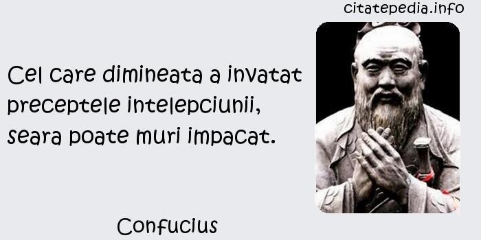 Confucius - Cel care dimineata a invatat preceptele intelepciunii, seara poate muri impacat.