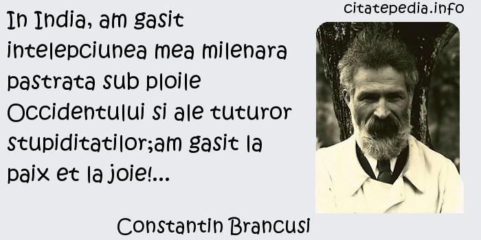 Constantin Brancusi - In India, am gasit intelepciunea mea milenara pastrata sub ploile Occidentului si ale tuturor stupiditatilor;am gasit la paix et la joie!...