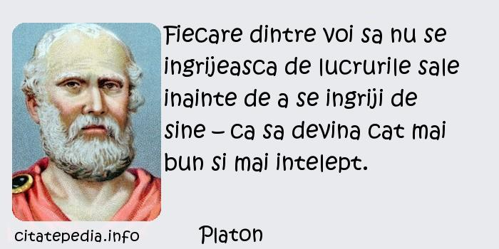 Platon - Fiecare dintre voi sa nu se ingrijeasca de lucrurile sale inainte de a se ingriji de sine – ca sa devina cat mai bun si mai intelept.