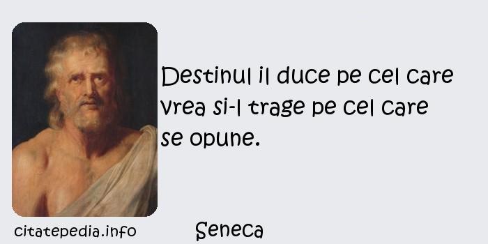 Seneca - Destinul il duce pe cel care vrea si-l trage pe cel care se opune.