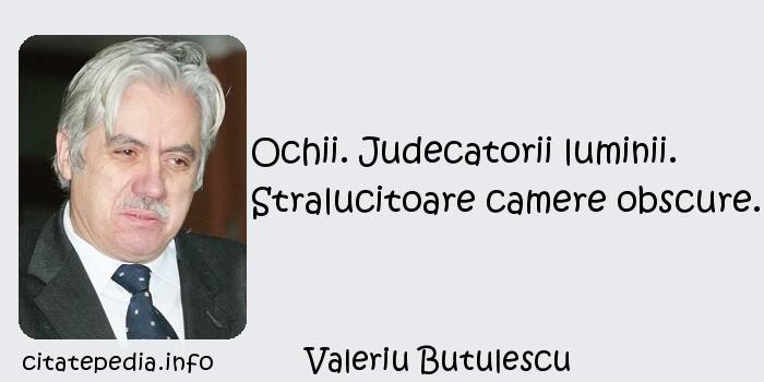 Valeriu Butulescu - Ochii. Judecatorii luminii. Stralucitoare camere obscure.