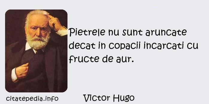 Victor Hugo - Pietrele nu sunt aruncate decat in copacii incarcati cu fructe de aur.