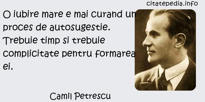 Camil Petrescu - O iubire mare e mai curand un proces de autosugestie. Trebuie timp si trebuie complicitate pentru formarea ei.