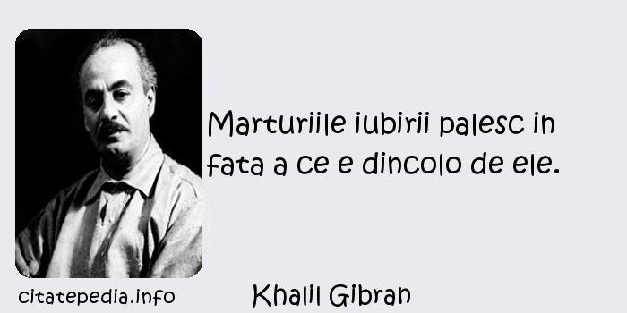 Khalil Gibran - Marturiile iubirii palesc in fata a ce e dincolo de ele.