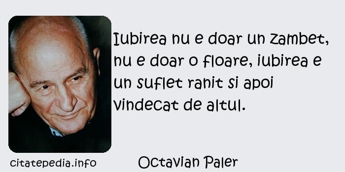 Octavian Paler - Iubirea nu e doar un zambet, nu e doar o floare, iubirea e un suflet ranit si apoi vindecat de altul.