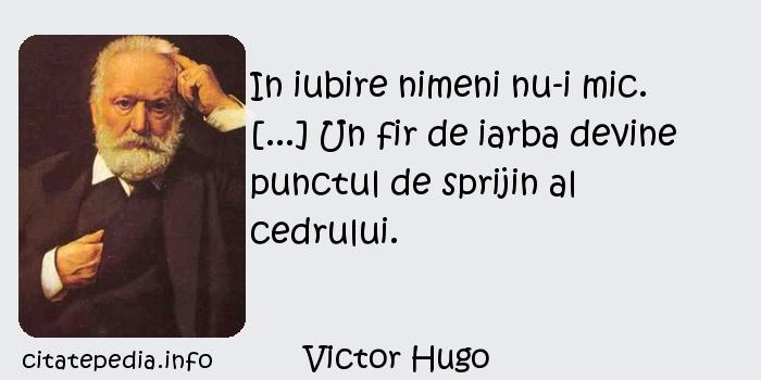 Victor Hugo - In iubire nimeni nu-i mic. [...] Un fir de iarba devine punctul de sprijin al cedrului.
