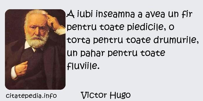 Victor Hugo - A iubi inseamna a avea un fir pentru toate piedicile, o torta pentru toate drumurile, un pahar pentru toate fluviile.