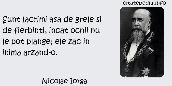 Nicolae Iorga - Sunt lacrimi asa de grele si de fierbinti, incat ochii nu le pot plange; ele zac in inima arzand-o.
