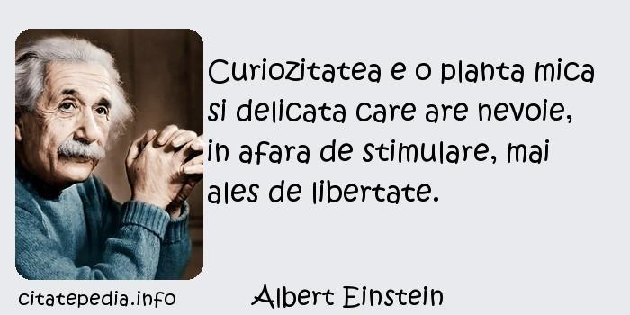 Albert Einstein - Curiozitatea e o planta mica si delicata care are nevoie, in afara de stimulare, mai ales de libertate.
