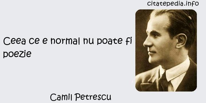 Camil Petrescu - Ceea ce e normal nu poate fi poezie
