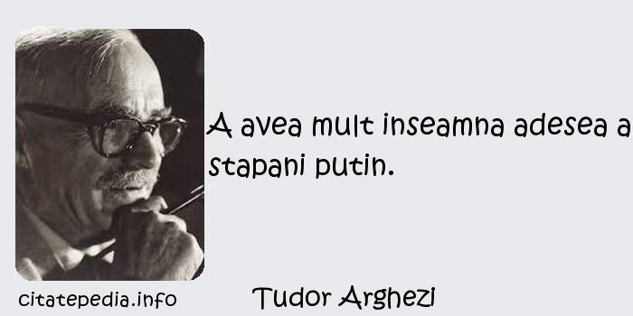 Tudor Arghezi - A avea mult inseamna adesea a stapani putin.
