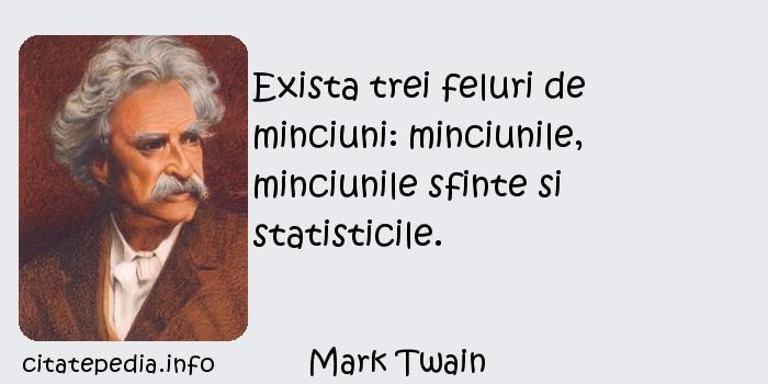 Mark Twain - Exista trei feluri de minciuni: minciunile, minciunile sfinte si statisticile.