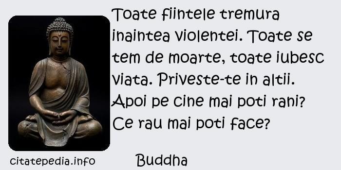 Buddha - Toate fiintele tremura inaintea violentei. Toate se tem de moarte, toate iubesc viata. Priveste-te in altii. Apoi pe cine mai poti rani? Ce rau mai poti face?