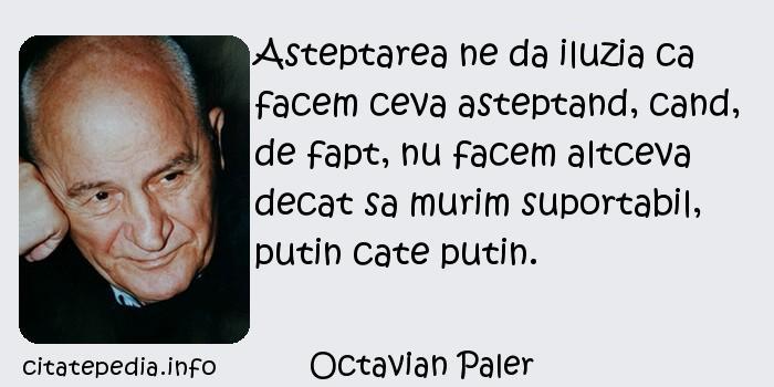 Octavian Paler - Asteptarea ne da iluzia ca facem ceva asteptand, cand, de fapt, nu facem altceva decat sa murim suportabil, putin cate putin.
