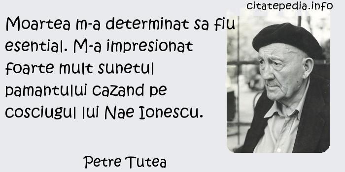 Petre Tutea - Moartea m-a determinat sa fiu esential. M-a impresionat foarte mult sunetul pamantului cazand pe cosciugul lui Nae Ionescu.