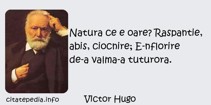 Victor Hugo - Natura ce e oare? Raspantie, abis, ciocnire; E-nflorire de-a valma-a tuturora.