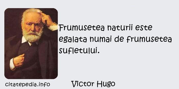 Victor Hugo - Frumusetea naturii este egalata numai de frumusetea sufletului.