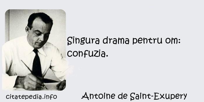 Antoine de Saint-Exupery - Singura drama pentru om: confuzia.