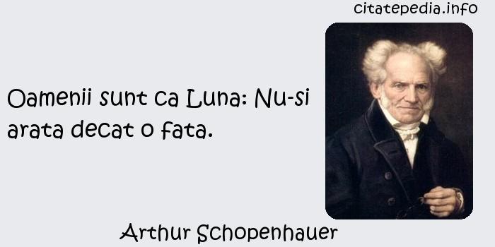 Arthur Schopenhauer - Oamenii sunt ca Luna: Nu-si arata decat o fata.