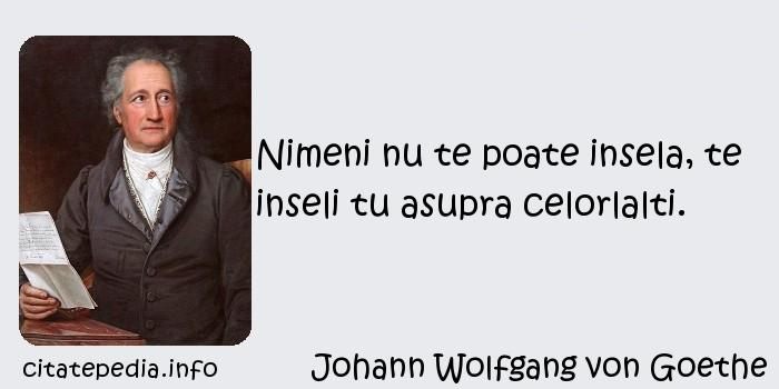 Johann Wolfgang von Goethe - Nimeni nu te poate insela, te inseli tu asupra celorlalti.