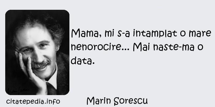 Marin Sorescu - Mama, mi s-a intamplat o mare nenorocire... Mai naste-ma o data.