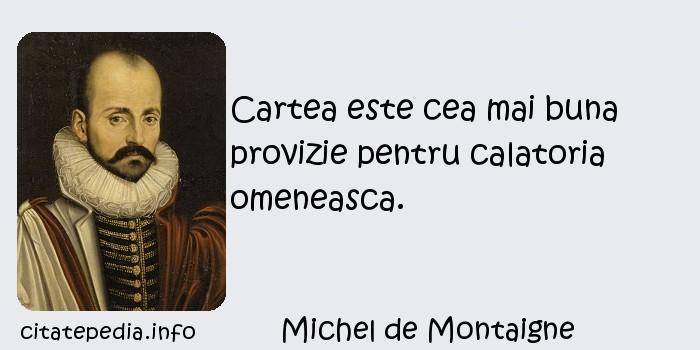 Michel de Montaigne - Cartea este cea mai buna provizie pentru calatoria omeneasca.
