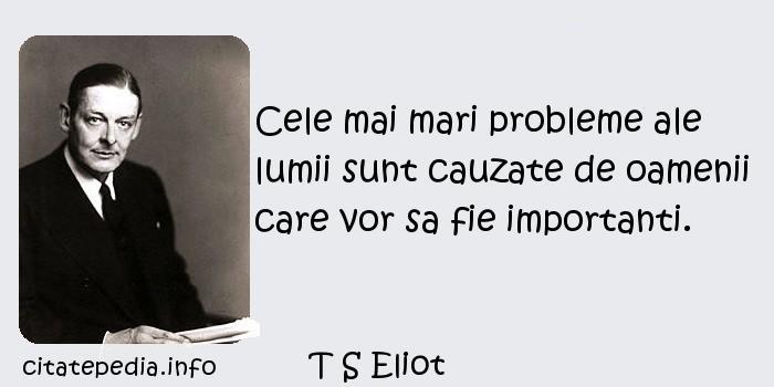 T S Eliot - Cele mai mari probleme ale lumii sunt cauzate de oamenii care vor sa fie importanti.