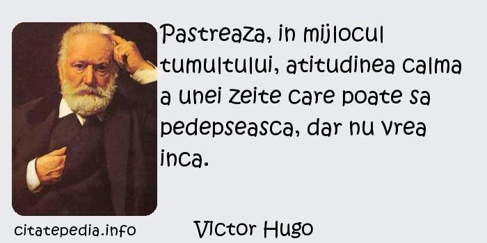 Victor Hugo - Pastreaza, in mijlocul tumultului, atitudinea calma a unei zeite care poate sa pedepseasca, dar nu vrea inca.