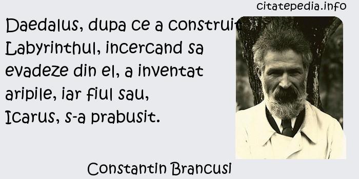 Constantin Brancusi - Daedalus, dupa ce a construit Labyrinthul, incercand sa evadeze din el, a inventat aripile, iar fiul sau, Icarus, s-a prabusit.