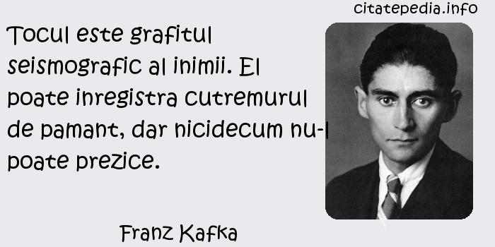 Franz Kafka - Tocul este grafitul seismografic al inimii. El poate inregistra cutremurul de pamant, dar nicidecum nu-l poate prezice.