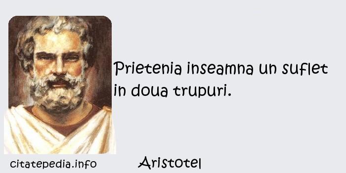 Aristotel - Prietenia inseamna un suflet in doua trupuri.