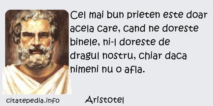 Aristotel - Cel mai bun prieten este doar acela care, cand ne doreste binele, ni-l doreste de dragul nostru, chiar daca nimeni nu o afla.