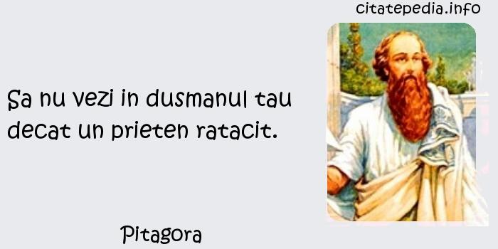 Pitagora - Sa nu vezi in dusmanul tau decat un prieten ratacit.