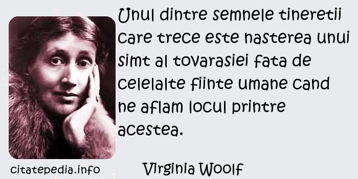 Virginia Woolf - Unul dintre semnele tineretii care trece este nasterea unui simt al tovarasiei fata de celelalte fiinte umane cand ne aflam locul printre acestea.