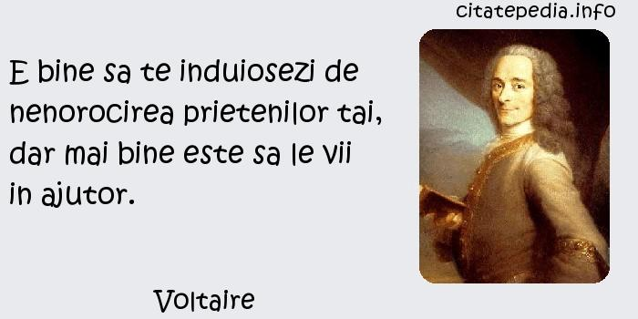 Voltaire - E bine sa te induiosezi de nenorocirea prietenilor tai, dar mai bine este sa le vii in ajutor.
